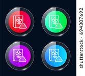 flour four color glass button...