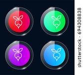 radish four color glass button...