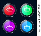 pot four color glass button ui...