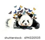watercolor panda on the white... | Shutterstock . vector #694320535