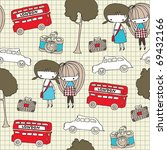 Seamless Pattern With Two Girls