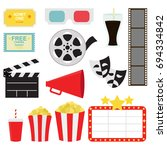 movie time and tickets in white ... | Shutterstock .eps vector #694334842