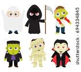 halloween trick or treat... | Shutterstock .eps vector #694334845