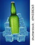 beer bottle in ice cubes with... | Shutterstock .eps vector #694338265