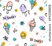 seamless pattern with ice cream ... | Shutterstock .eps vector #694338808