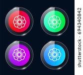 flower four color glass button...