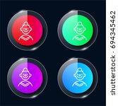clown four color glass button...