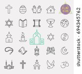 religion line icon set | Shutterstock .eps vector #694345762