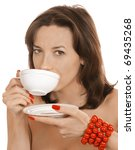 young girl with a cup of tea... | Shutterstock . vector #69435268