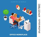 colored 3d isometric office...   Shutterstock .eps vector #694357882