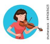 Musician Playing Violin. Girl...