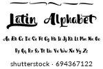 vector alphabet. calligraphic... | Shutterstock .eps vector #694367122
