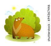 bear in wild nature. funny kids ... | Shutterstock . vector #694367446