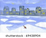 drawing as a duck goes on ice | Shutterstock . vector #69438904