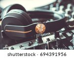 pro dj headphones with powerful ... | Shutterstock . vector #694391956