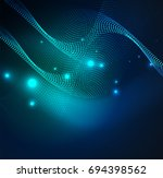 3d illuminated wave of glowing...   Shutterstock . vector #694398562