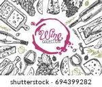 hand drawn doodle wine... | Shutterstock .eps vector #694399282