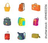 baggage icons set. cartoon set... | Shutterstock .eps vector #694403356