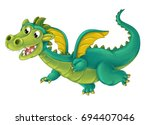 Cartoon Happy And Funny Dragon...