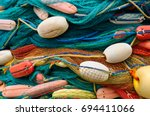 background of colorful fishing... | Shutterstock . vector #694411066