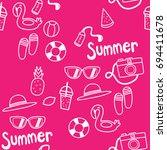 summer vector and pattern ... | Shutterstock .eps vector #694411678