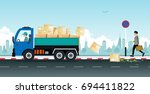 a truck driver makes a parcel... | Shutterstock .eps vector #694411822
