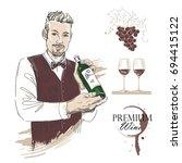 sommelier  waiter  man holding... | Shutterstock .eps vector #694415122