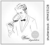 sommelier  waiter  man holding... | Shutterstock .eps vector #694415128