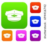 cap taxi driver set icon in...   Shutterstock .eps vector #694416742