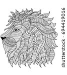 lion head coloring book page | Shutterstock .eps vector #694419016