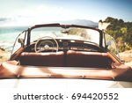 retro car of free space for... | Shutterstock . vector #694420552