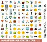 100 partnership startup icons... | Shutterstock .eps vector #694423315