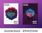 electronic music poster. modern ... | Shutterstock .eps vector #694425346
