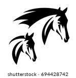 Stock vector horse head simple black and white vector design 694428742