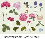 vintage floral set of natural... | Shutterstock .eps vector #694437508