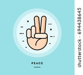 peace  flat design thin line... | Shutterstock .eps vector #694438645