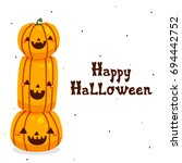 halloween pumpkins on white...   Shutterstock .eps vector #694442752