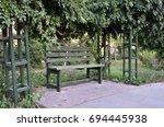 bench in park   Shutterstock . vector #694445938