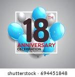 18th anniversary celebration...   Shutterstock .eps vector #694451848
