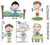 daily morning boys life... | Shutterstock .eps vector #69445279