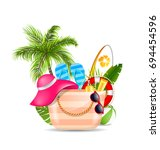 female bag with beach... | Shutterstock .eps vector #694454596