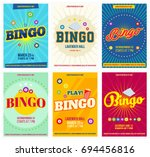 bingo lottery posters set....   Shutterstock .eps vector #694456816
