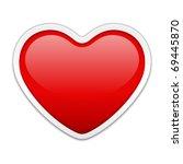 red heart sticker vector... | Shutterstock .eps vector #69445870