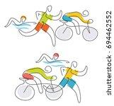 triathlon race line art. two ... | Shutterstock .eps vector #694462552