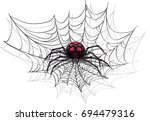 big scary spider on halloween.... | Shutterstock .eps vector #694479316