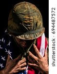 vietnam war us marine with... | Shutterstock . vector #694487572