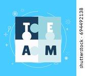 team work banner. white blue... | Shutterstock . vector #694492138