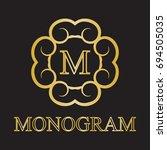 vintage monogram frame template....   Shutterstock .eps vector #694505035