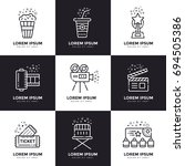 cinema linear icons set.... | Shutterstock . vector #694505386