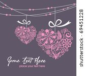 greeting hanging heart | Shutterstock .eps vector #69451228